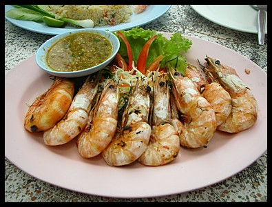 Delicious BBQ white prawns cost 250 Baht